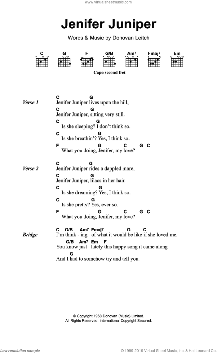 Donovan - Jennifer Juniper sheet music for guitar (chords) [PDF]