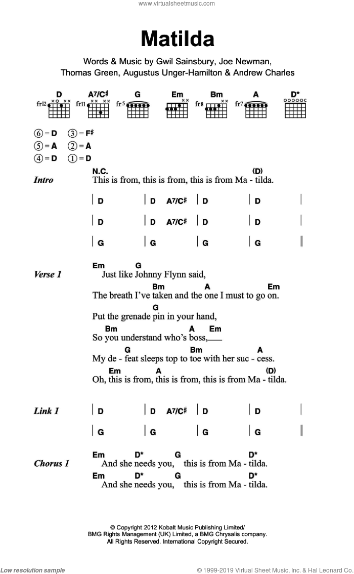 Matilda sheet music for guitar (chords) by Alt-J, intermediate. Score Image Preview.