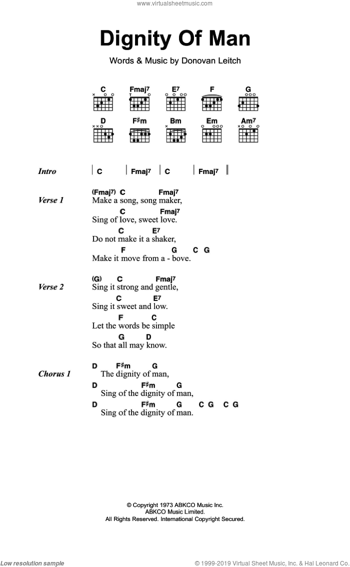 Donovan Dignity Of Man Sheet Music For Guitar Chords Pdf