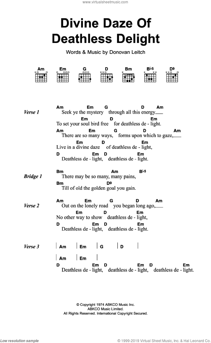 Divine Daze Of Deathless Delight sheet music for guitar (chords) by Walter Donovan. Score Image Preview.