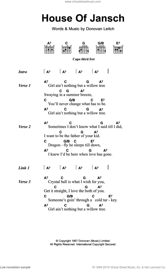 Donovan House Of Jansch Sheet Music For Guitar Chords Pdf