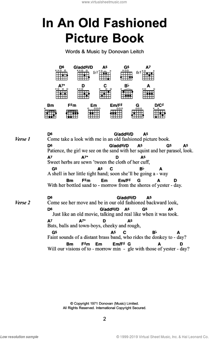 In An Old Fashioned Picture Book sheet music for guitar (chords) by Donovan Leitch and Walter Donovan. Score Image Preview.