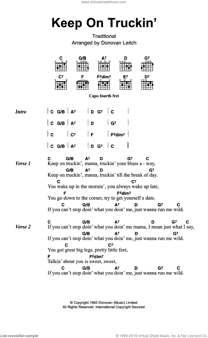 Keep On Truckin' sheet music for guitar (chords) by Walter Donovan and Miscellaneous, intermediate skill level