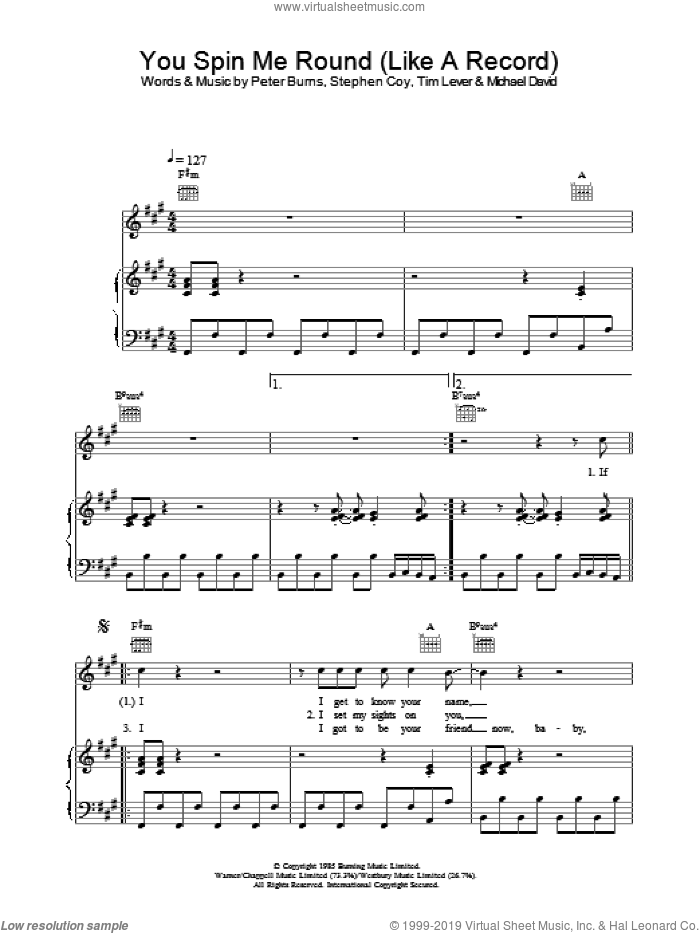 You Spin Me Round (Like A Record) sheet music for voice, piano or guitar by Dead Or Alive, Michael David, Peter Burns, Stephen Coy and Tim Lever, intermediate. Score Image Preview.