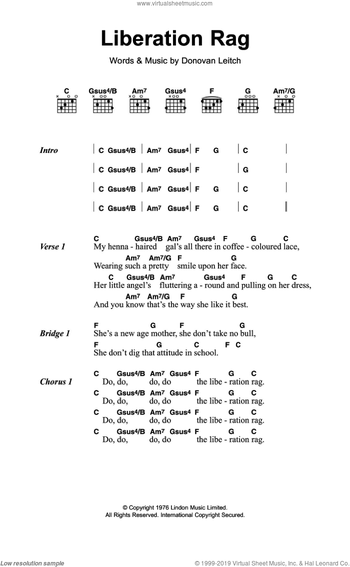 Liberation Rag sheet music for guitar (chords) by Walter Donovan and Donovan Leitch, intermediate skill level