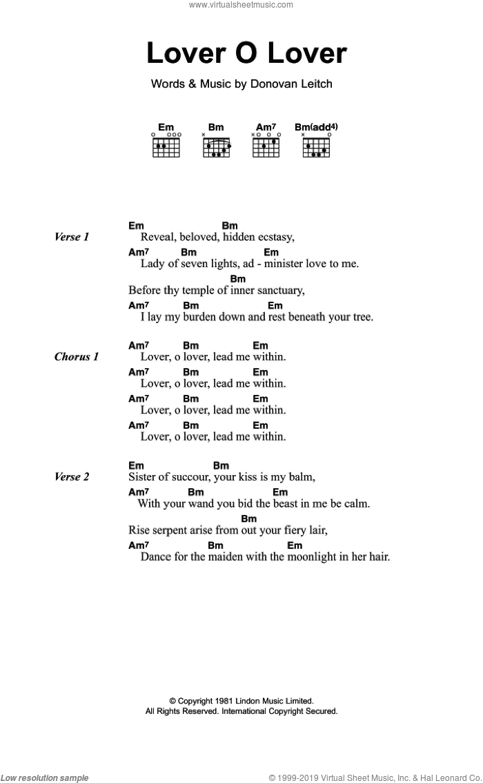 Lover O Lover sheet music for guitar (chords) by Walter Donovan and Donovan Leitch, intermediate skill level
