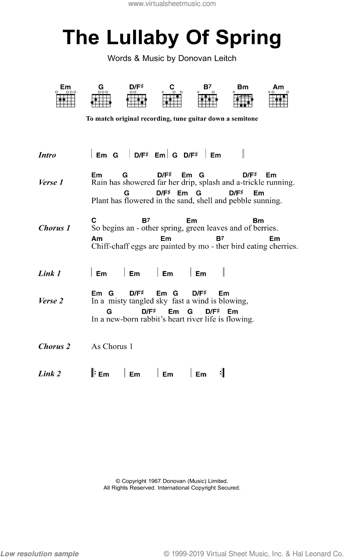 The Lullaby Of Spring sheet music for guitar (chords) by Walter Donovan, intermediate. Score Image Preview.