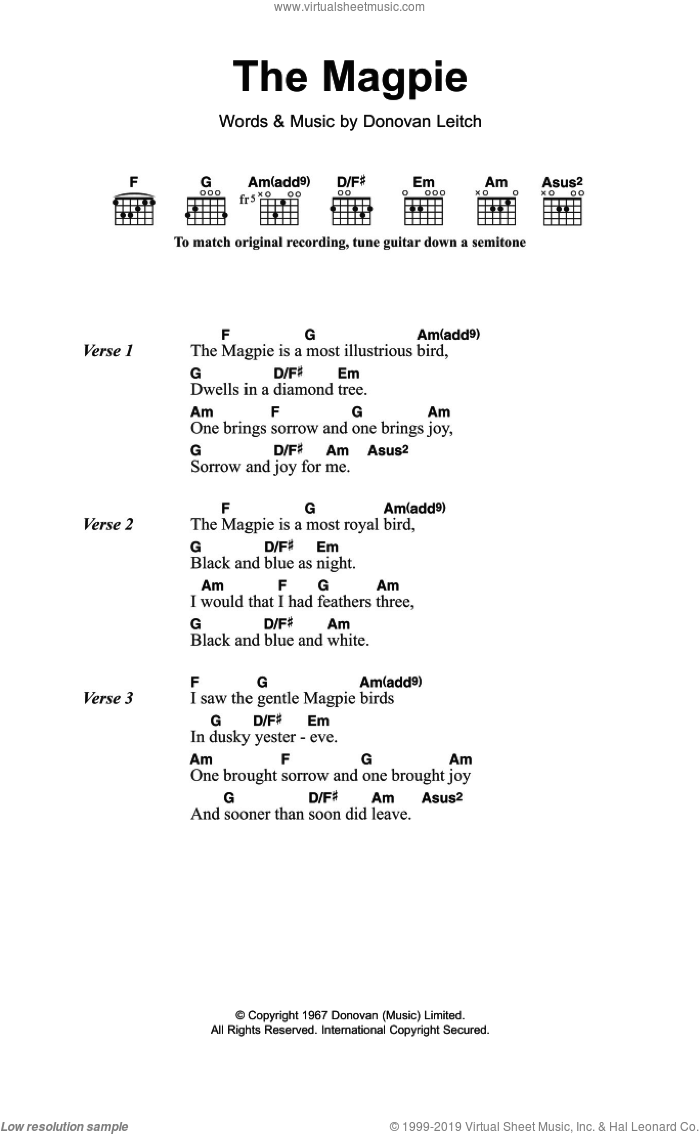 The Magpie sheet music for guitar (chords) by Walter Donovan and Donovan Leitch, intermediate skill level