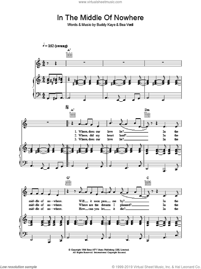 In The Middle Of Nowhere sheet music for voice, piano or guitar by Dusty Springfield, Bea Verdi and Buddy Kaye, intermediate skill level