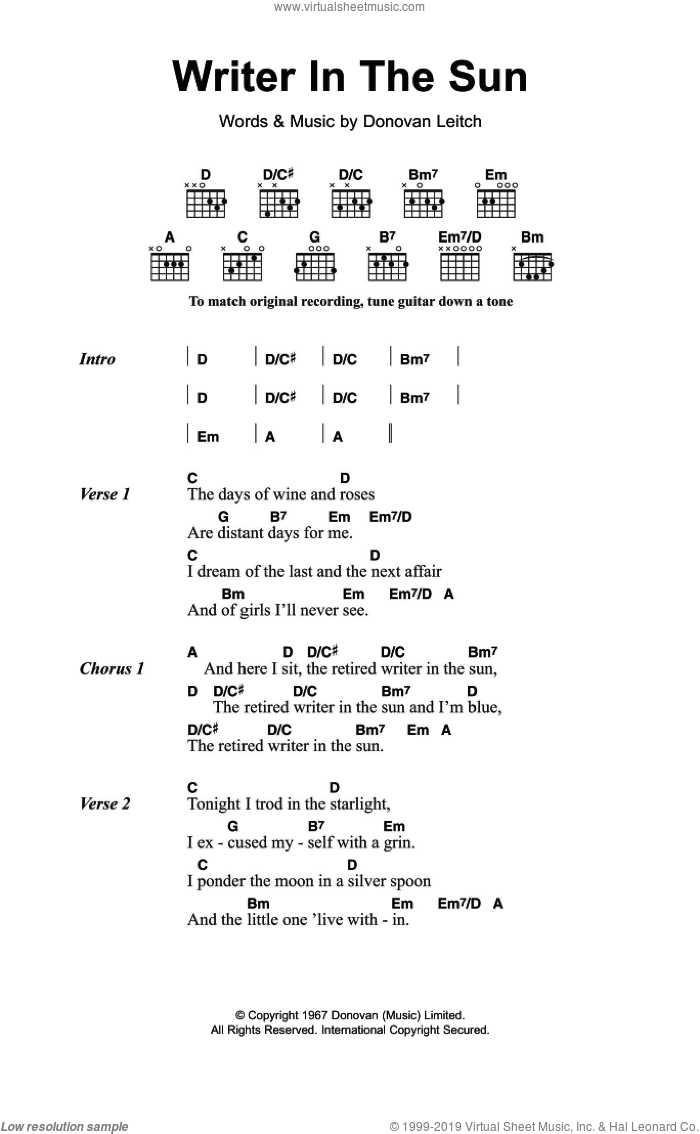 Writer In The Sun sheet music for guitar (chords) by Walter Donovan, intermediate guitar (chords). Score Image Preview.