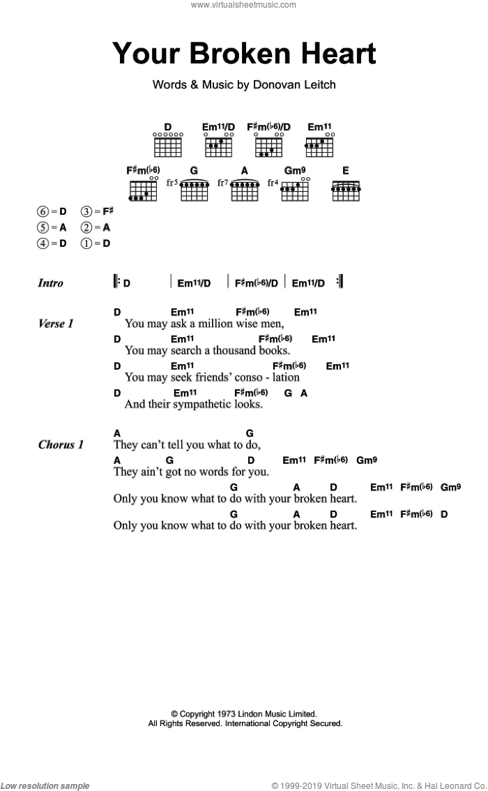 Your Broken Heart sheet music for guitar (chords) by Walter Donovan and Donovan Leitch, intermediate skill level