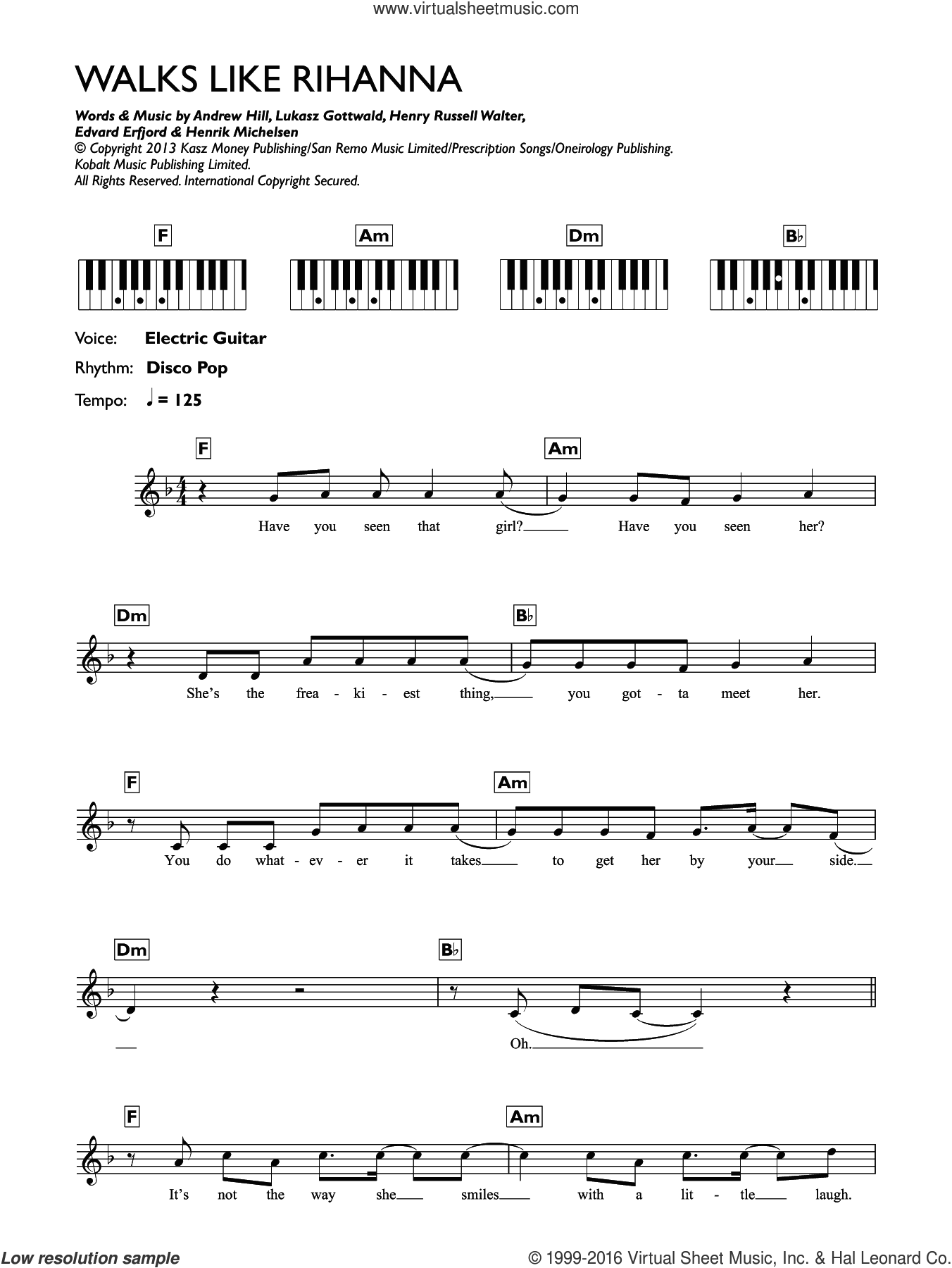Walks Like Rihanna sheet music for piano solo (chords, lyrics, melody) by The Wanted, Andrew Hill, Edvard Erfjord, Henrik Michelsen, Henry Russell Walter and Lukasz Gottwald, intermediate piano (chords, lyrics, melody). Score Image Preview.