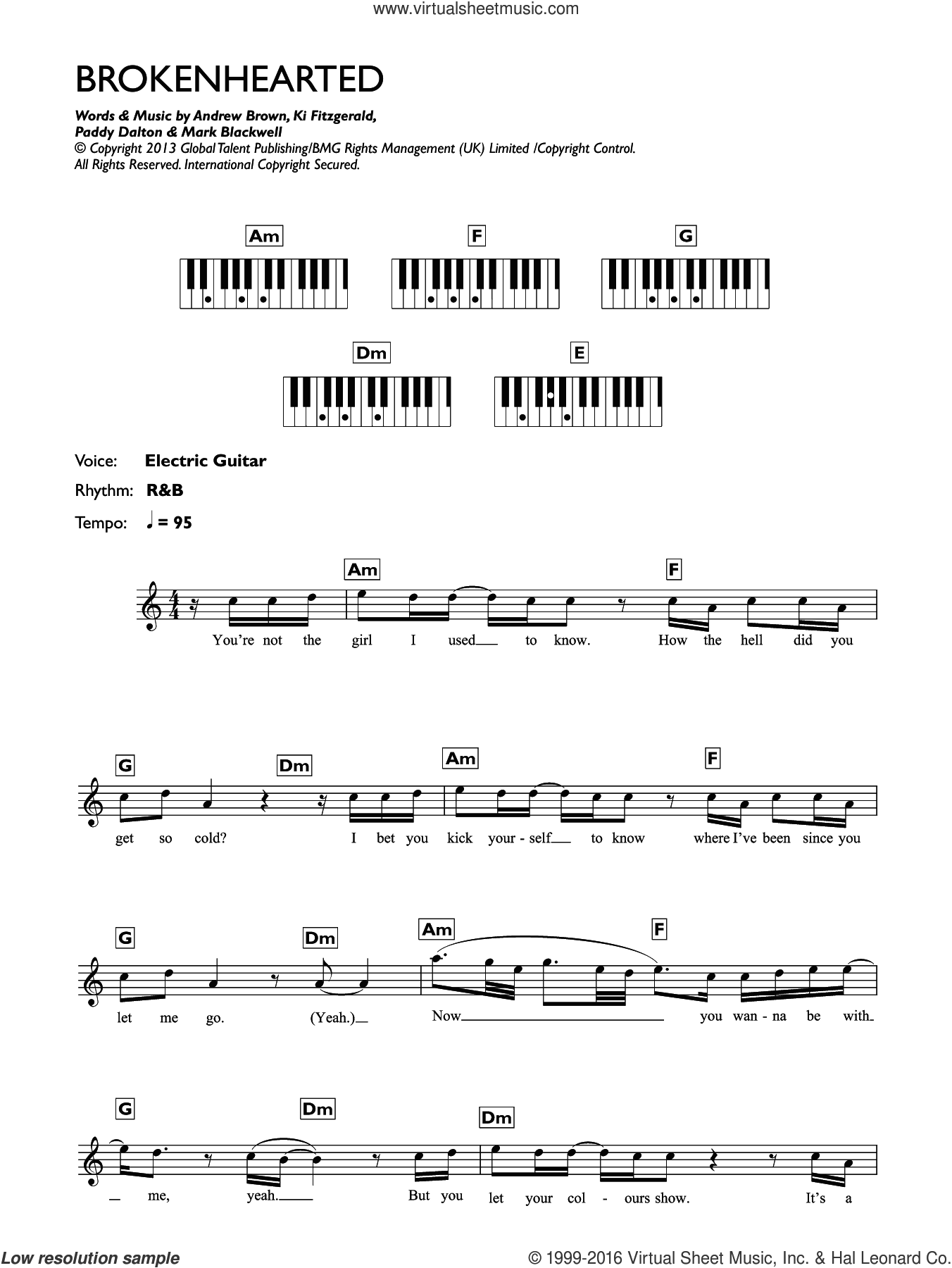 Brokenhearted (featuring B.o.B) sheet music for piano solo (chords, lyrics, melody) by LAWSON, B.o.B., Andrew Brown, Bobby Ray Simmons Jr., Ki Fitzgerald, Mark Blackwell and Paddy Dalton, intermediate piano (chords, lyrics, melody)