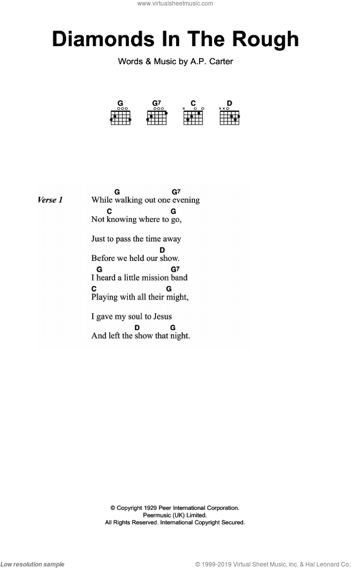 Diamonds In The Rough sheet music for guitar (chords) by The Carter Family and A.P. Carter, intermediate