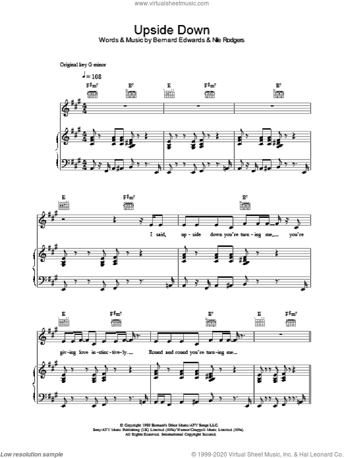 Upside Down sheet music for voice, piano or guitar by Bernard Edwards, Diana Ross and Nile Rodgers. Score Image Preview.