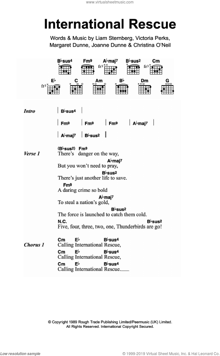 International Rescue sheet music for guitar (chords) by Fuzzbox, Joanne Dunne, Liam Sternberg, Margaret Dunne and Victoria Perks, intermediate skill level