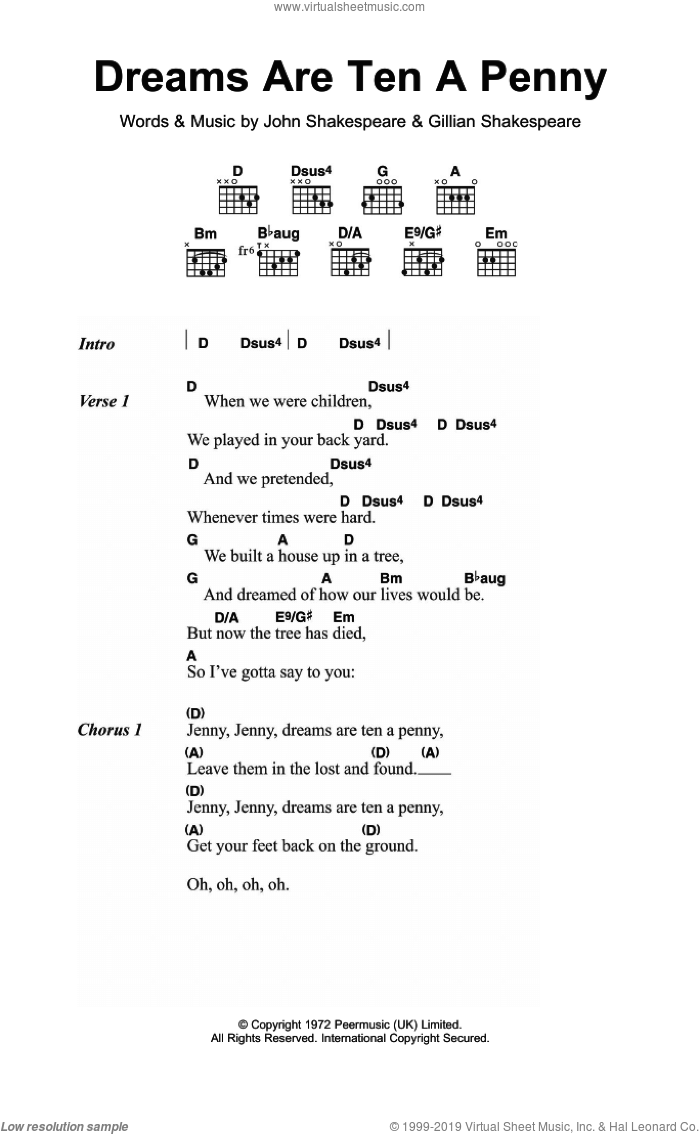 Dreams Are Ten A Penny sheet music for guitar (chords) by John Shakespeare. Score Image Preview.