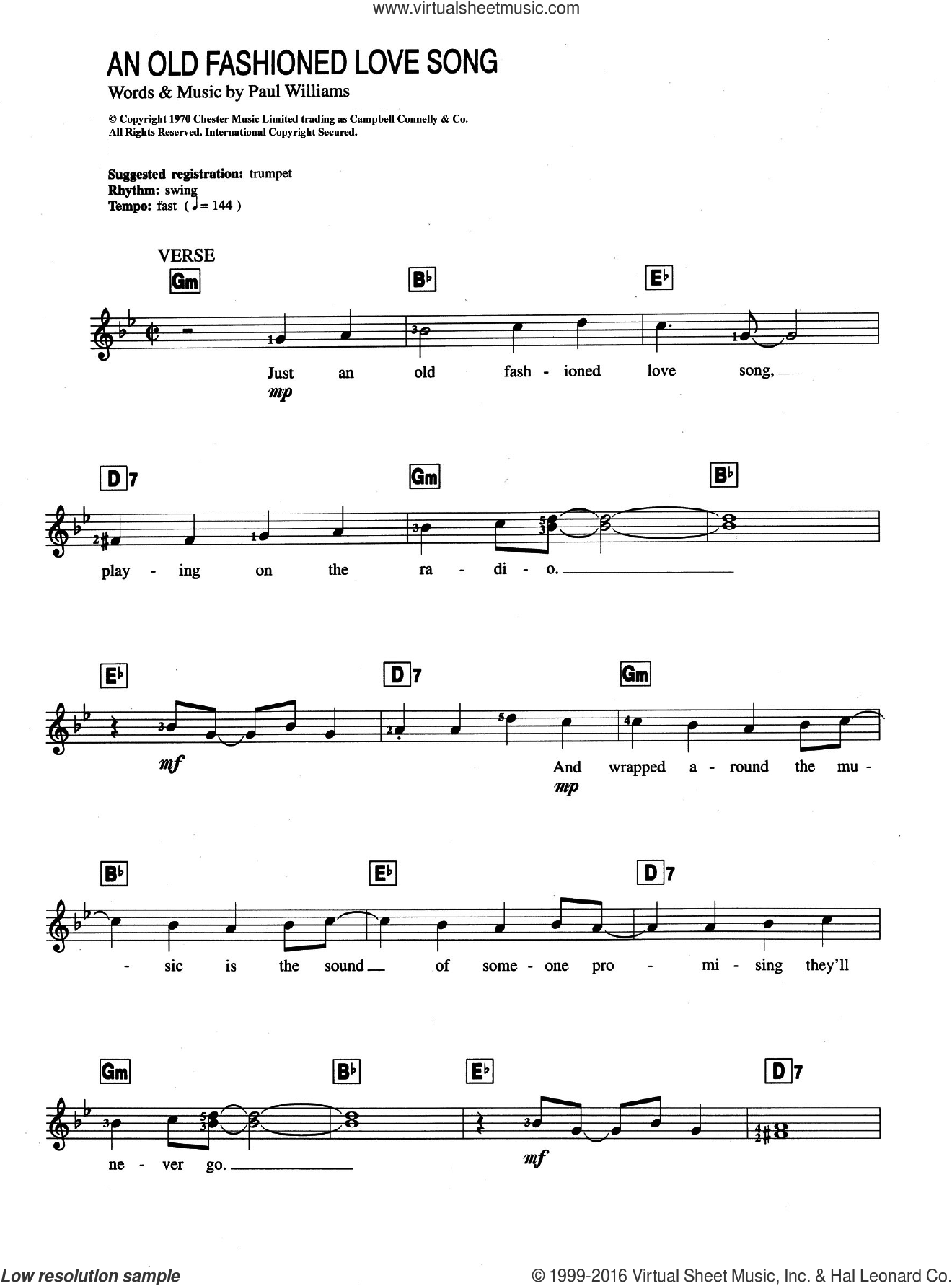 Carpenters - An Old Fashioned Love Song sheet music for piano solo (chords,  lyrics, melody)