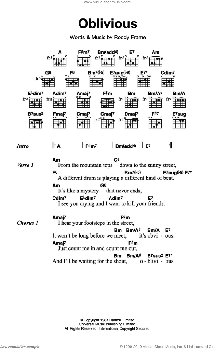 Oblivious sheet music for guitar (chords) by Roddy Frame