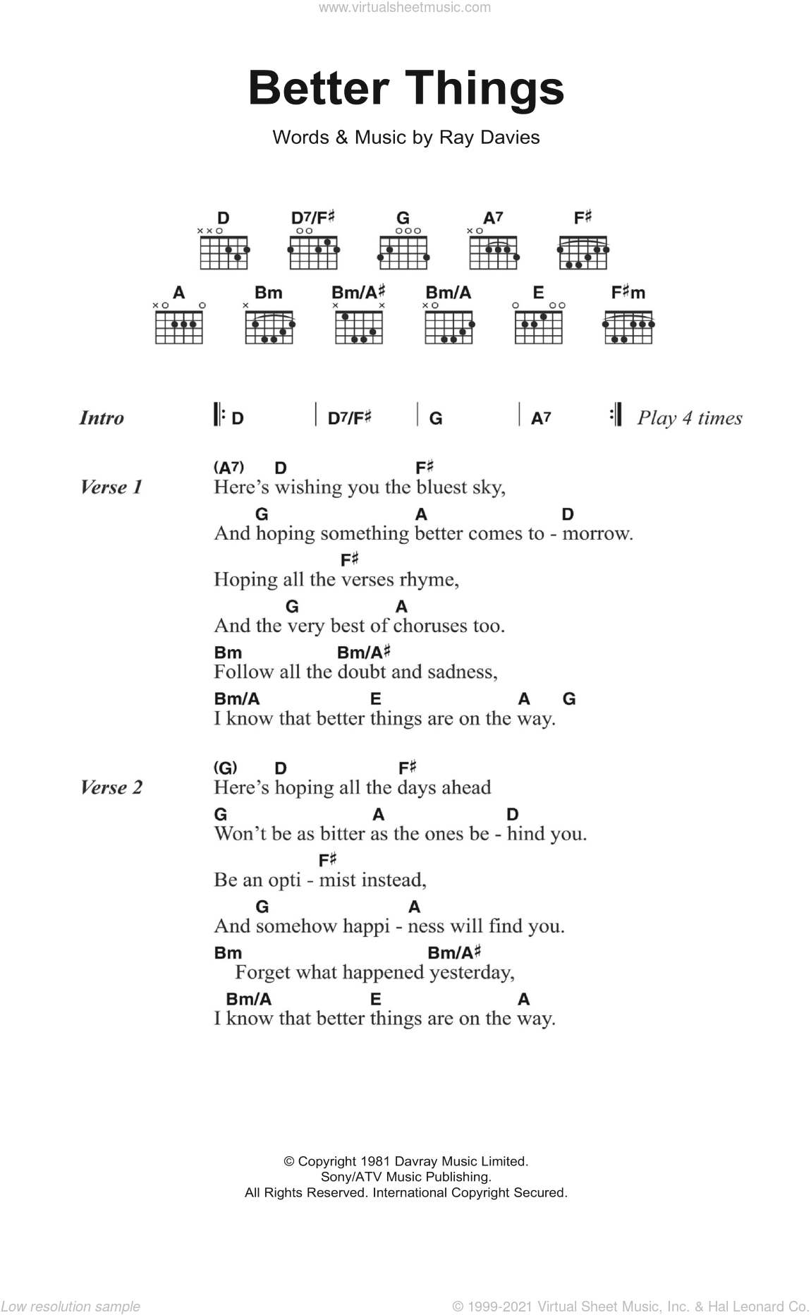 Kinks Better Things Sheet Music For Guitar Chords Pdf