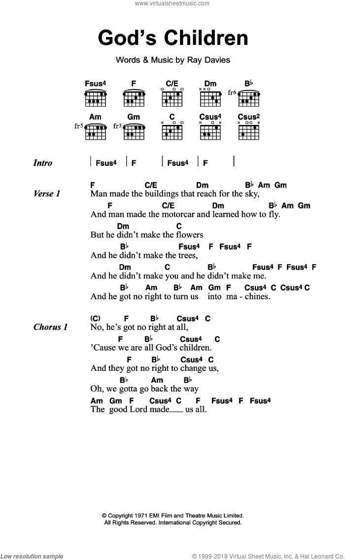 God's Children sheet music for guitar (chords) by The Kinks and Ray Davies, intermediate skill level