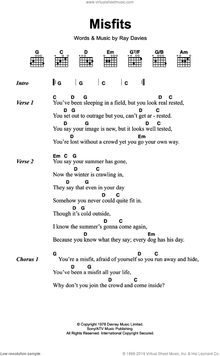 Kinks Misfits Sheet Music For Guitar