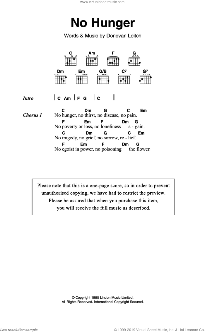 No Hunger sheet music for guitar (chords) by Donovan Leitch