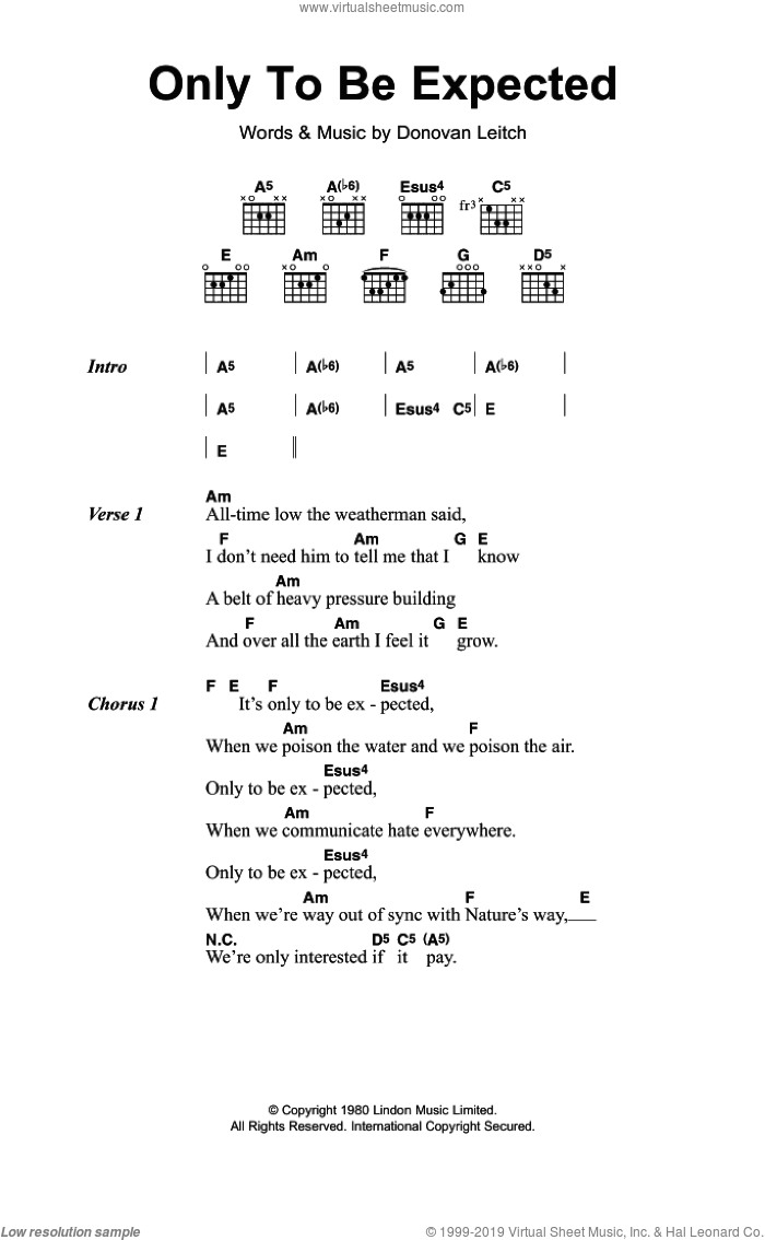 Only To Be Expected sheet music for guitar (chords) by Walter Donovan and Donovan Leitch, intermediate