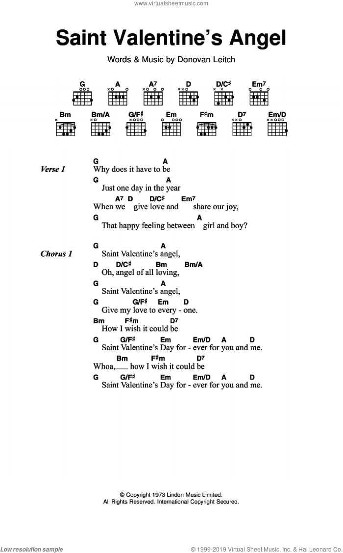 Saint Valentine's Angel sheet music for guitar (chords) by Donovan Leitch and Walter Donovan. Score Image Preview.