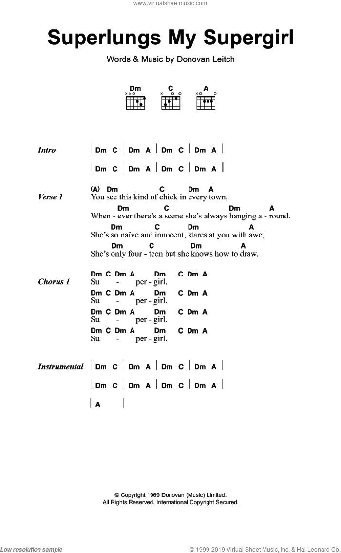 Superlungs My Supergirl sheet music for guitar (chords) by Walter Donovan and Donovan Leitch, intermediate skill level