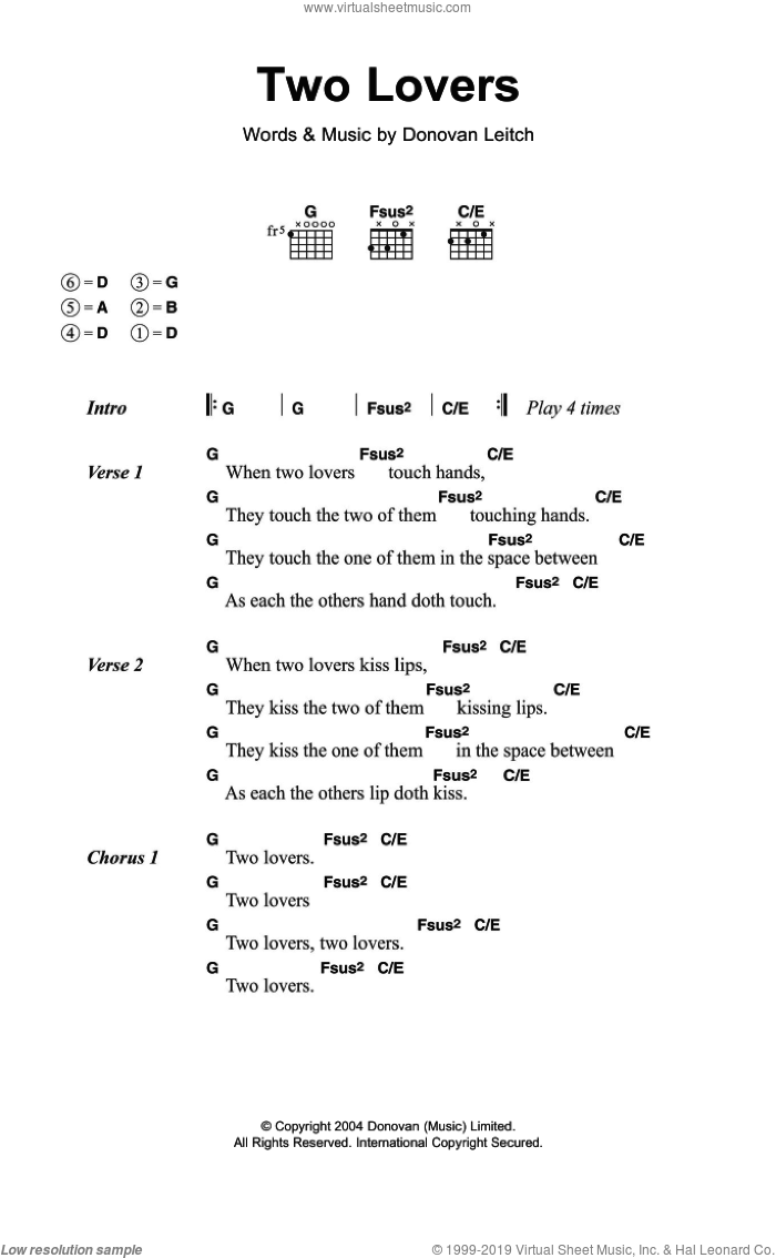 Two Lovers sheet music for guitar (chords) by Walter Donovan and Donovan Leitch, intermediate. Score Image Preview.