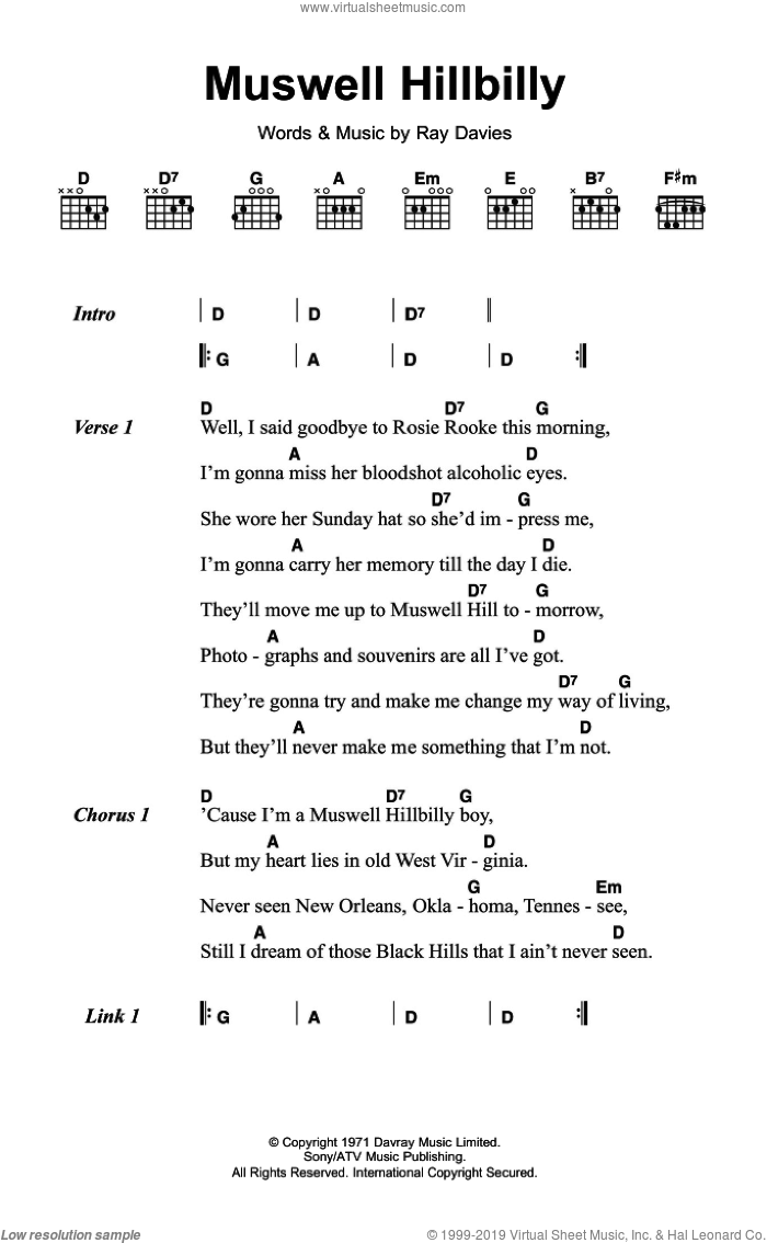 Muswell Hillbilly sheet music for guitar (chords) by Ray Davies and The Kinks. Score Image Preview.