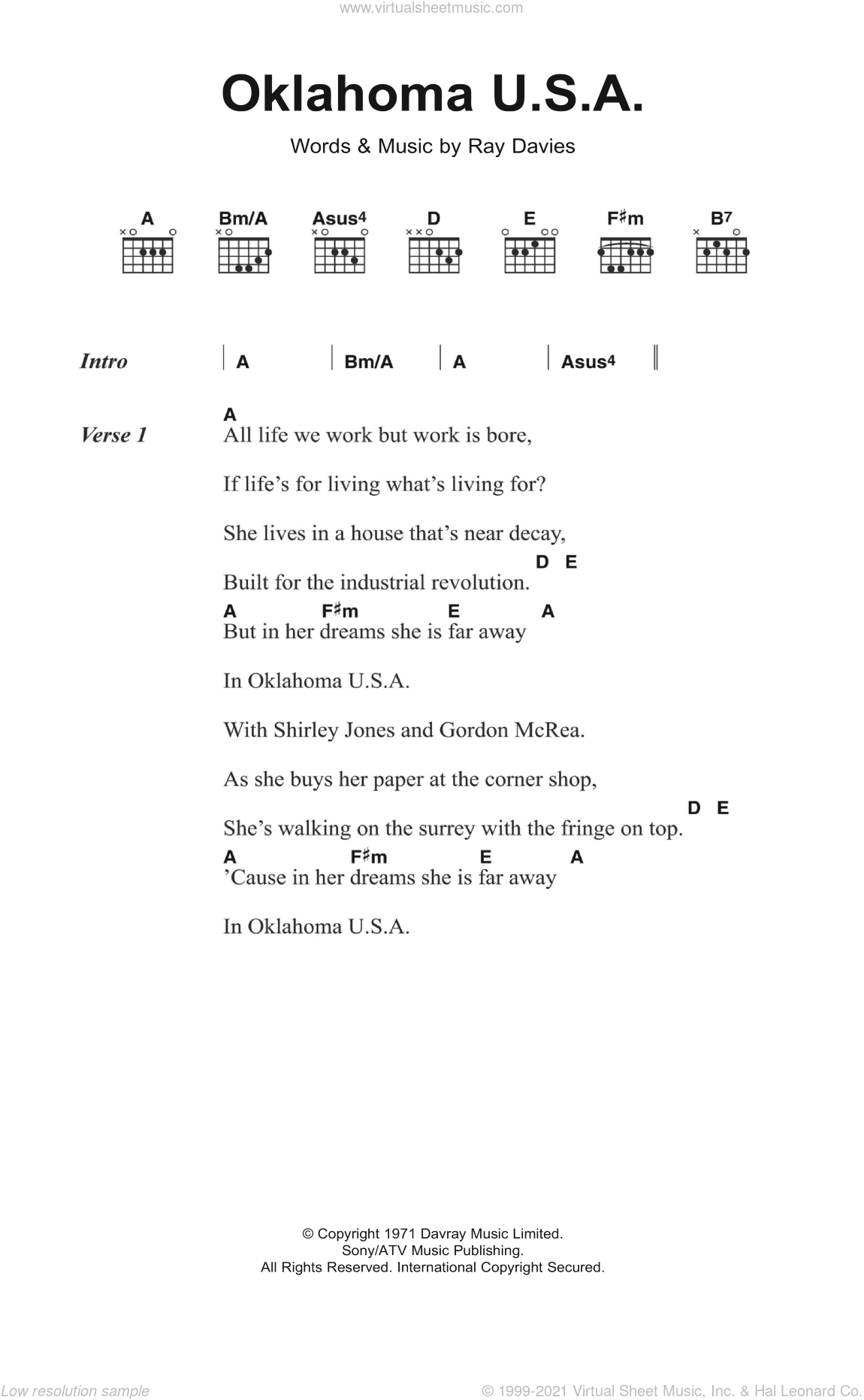 Oklahoma U S A Sheet Music For Guitar Chords By The Kinks And Ray Davies