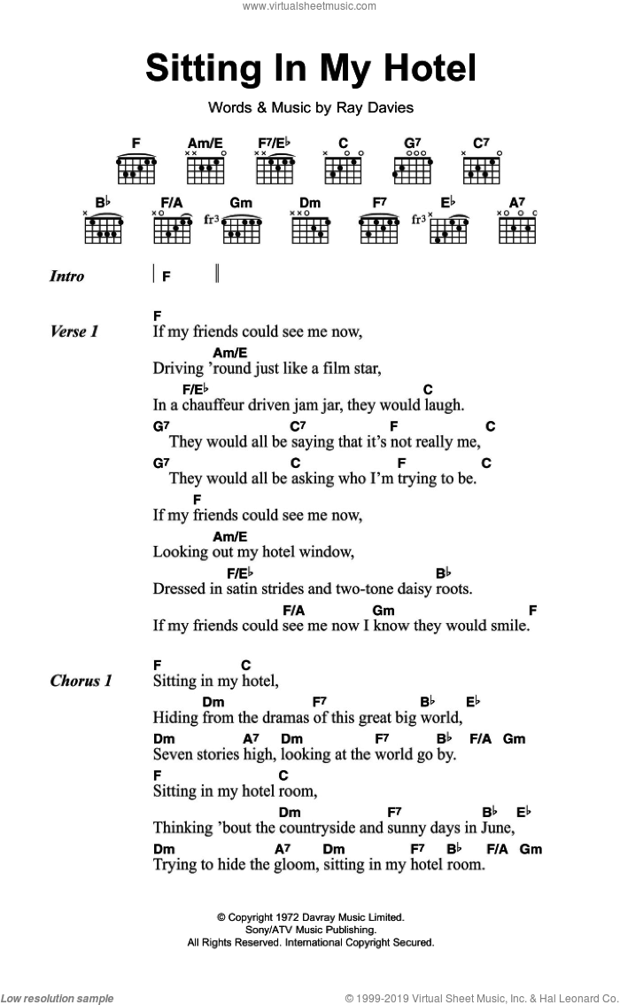 Kinks Sitting In My Hotel Sheet Music For Guitar Chords Pdf
