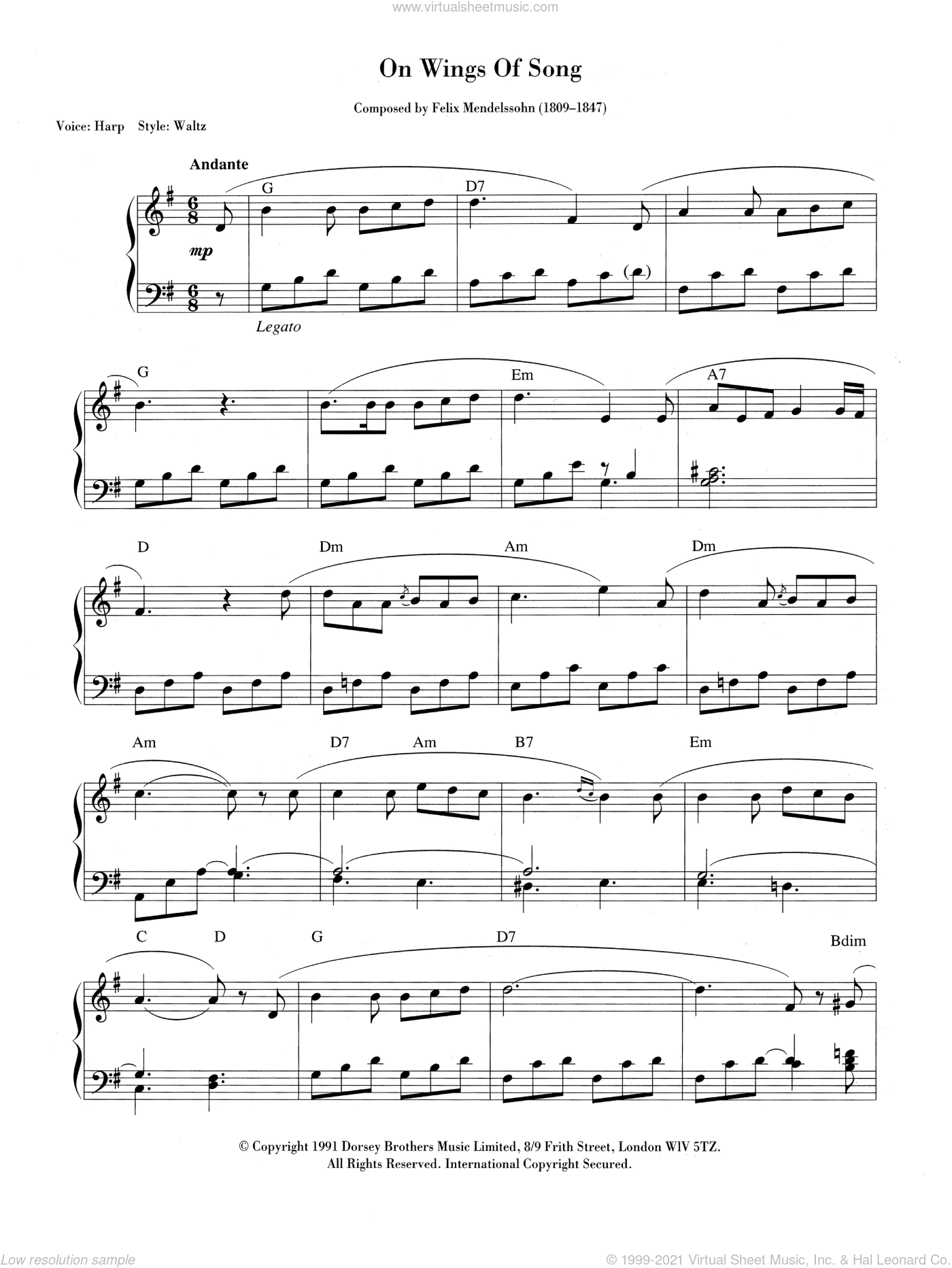 On Wings Of Song sheet music for piano solo (chords, lyrics, melody) by Felix Mendelssohn-Bartholdy, classical score, intermediate piano (chords, lyrics, melody). Score Image Preview.