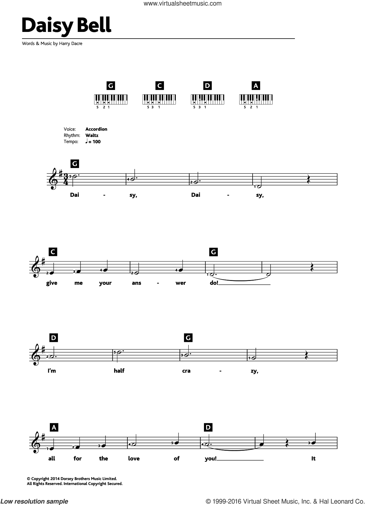 Daisy Bell sheet music for piano solo (chords, lyrics, melody) by Harry Dacre. Score Image Preview.