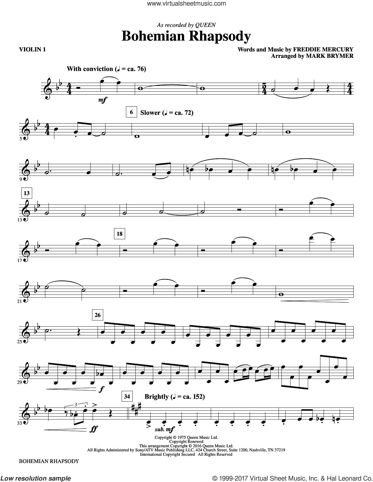 Bohemian Rhapsody (complete set of parts) sheet music for orchestra/band (Instrumental Accompaniment) by Mark Brymer, Freddie Mercury and Queen, classical score, intermediate skill level