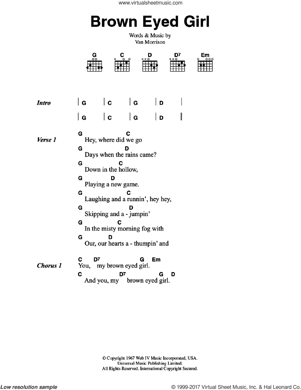 Brown Eyed Girl sheet music for guitar (chords) by Van Morrison, intermediate skill level