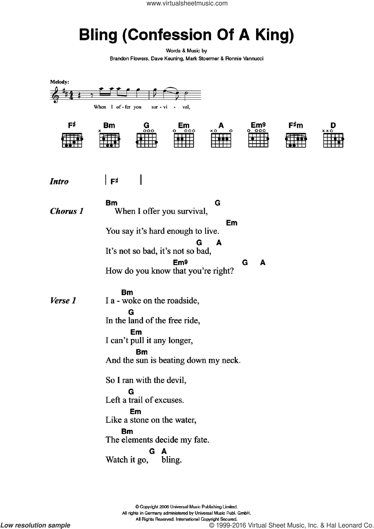 Bling (Confession Of A King) sheet music for guitar (chords) by The Killers and Brandon Flowers. Score Image Preview.