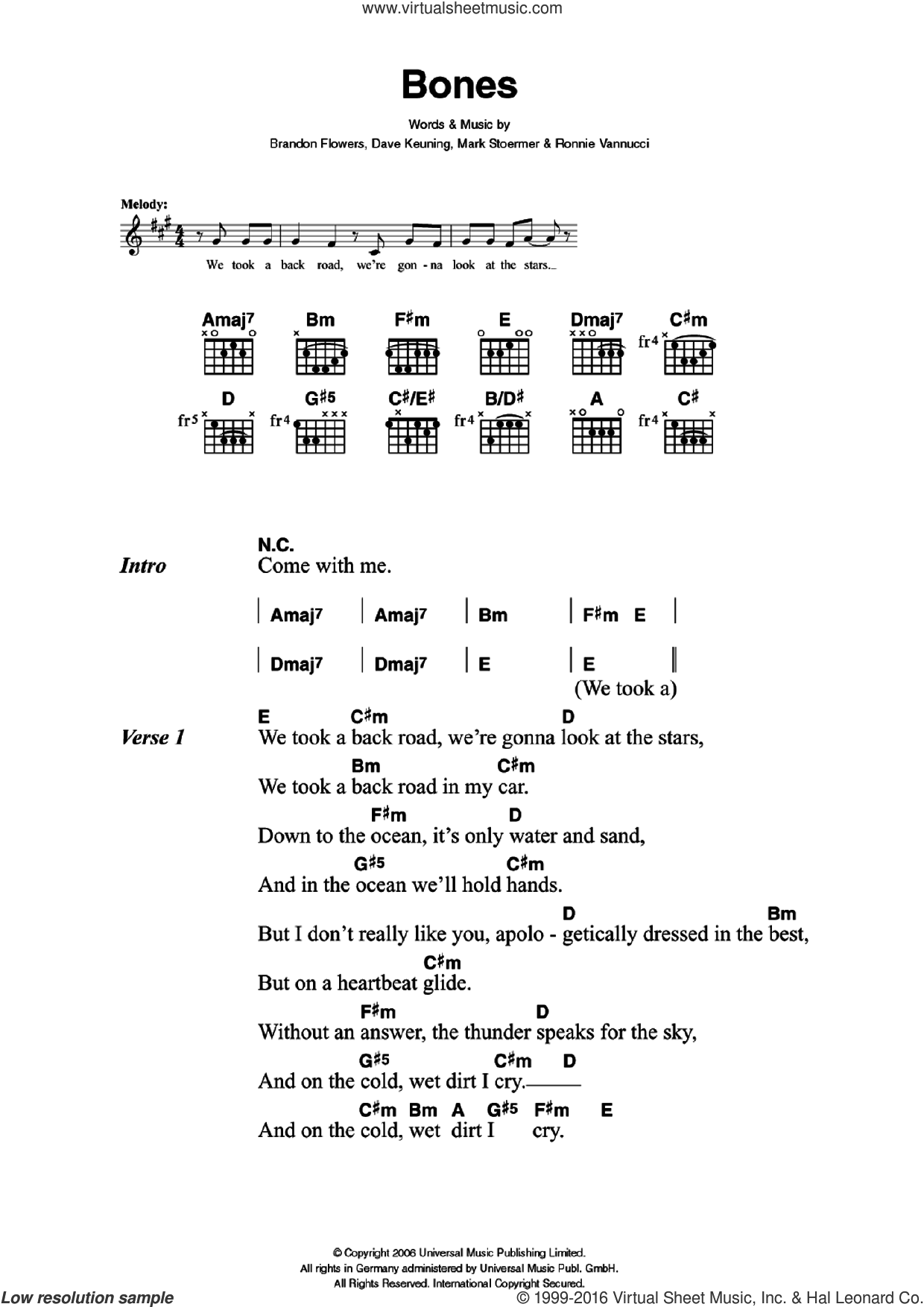 Bones sheet music for guitar (chords) by The Killers, Brandon Flowers, Dave Keuning, Mark Stoermer and Ronnie Vannucci, intermediate