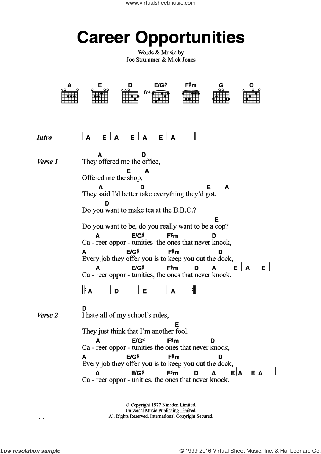 Career Opportunities sheet music for guitar (chords) by The Clash and Mick Jones, intermediate guitar (chords). Score Image Preview.