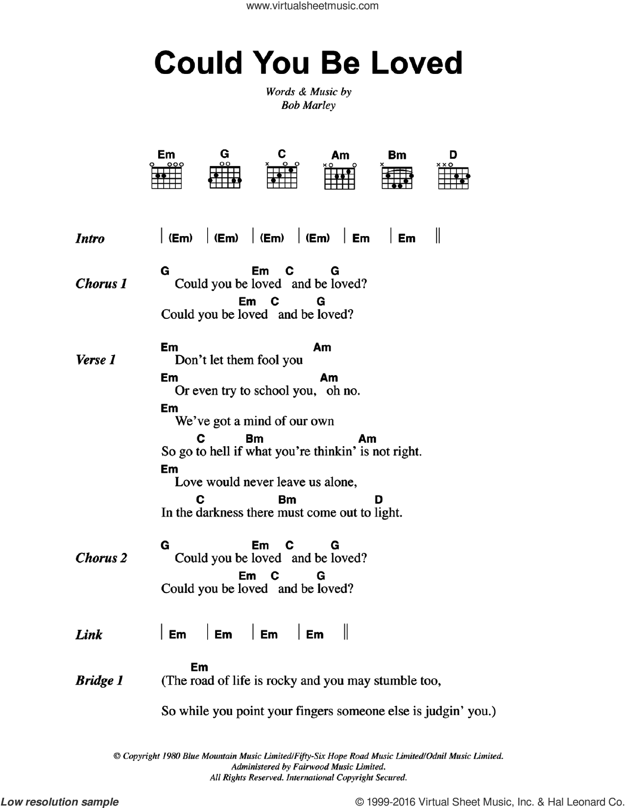 Marley Could You Be Loved Sheet Music For Guitar Chords Pdf