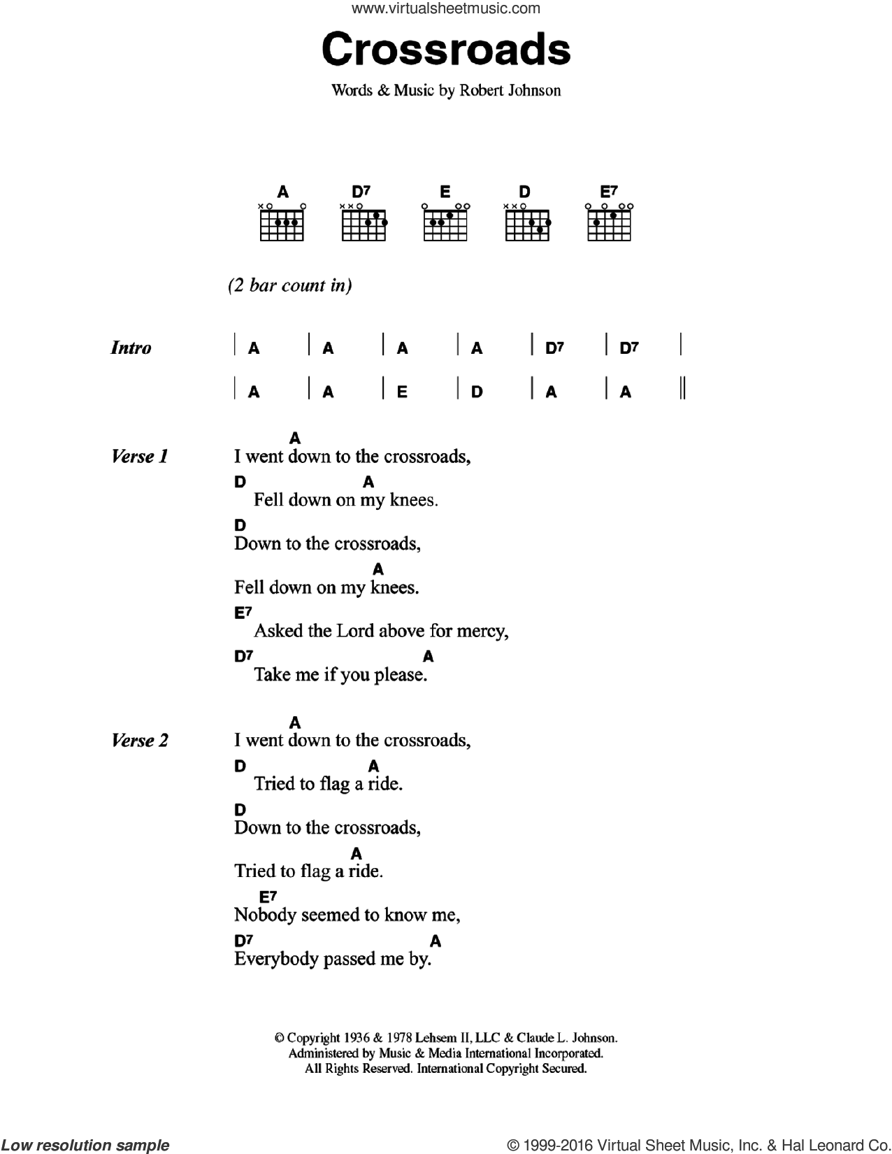 Crossroads sheet music for guitar (chords) by Robert Johnson