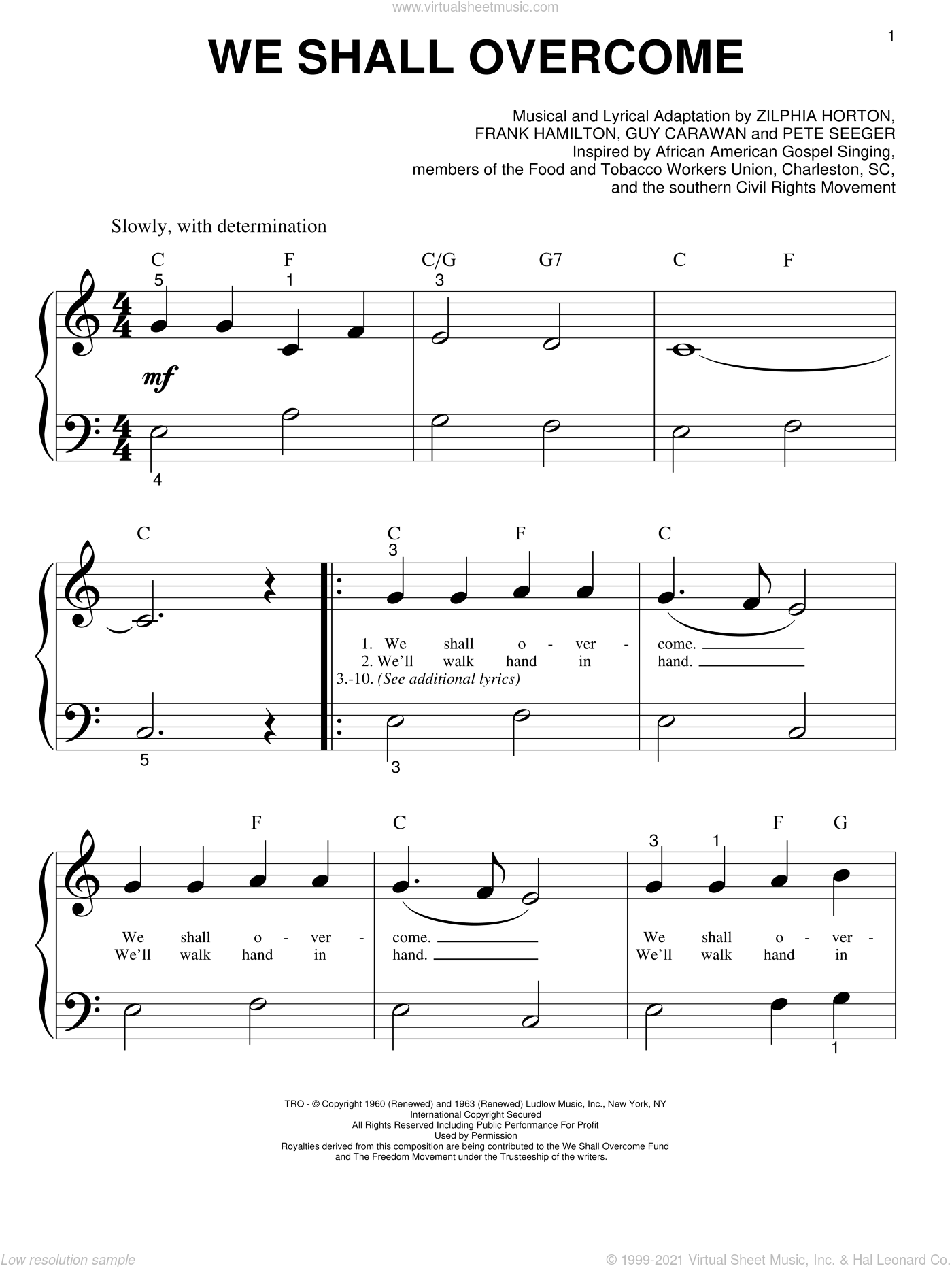 We Shall Overcome sheet music for piano solo (big note book) by Pete Seeger, Joan Baez, Frank Hamilton, Guy Carawan and Zilphia Horton, easy piano (big note book)