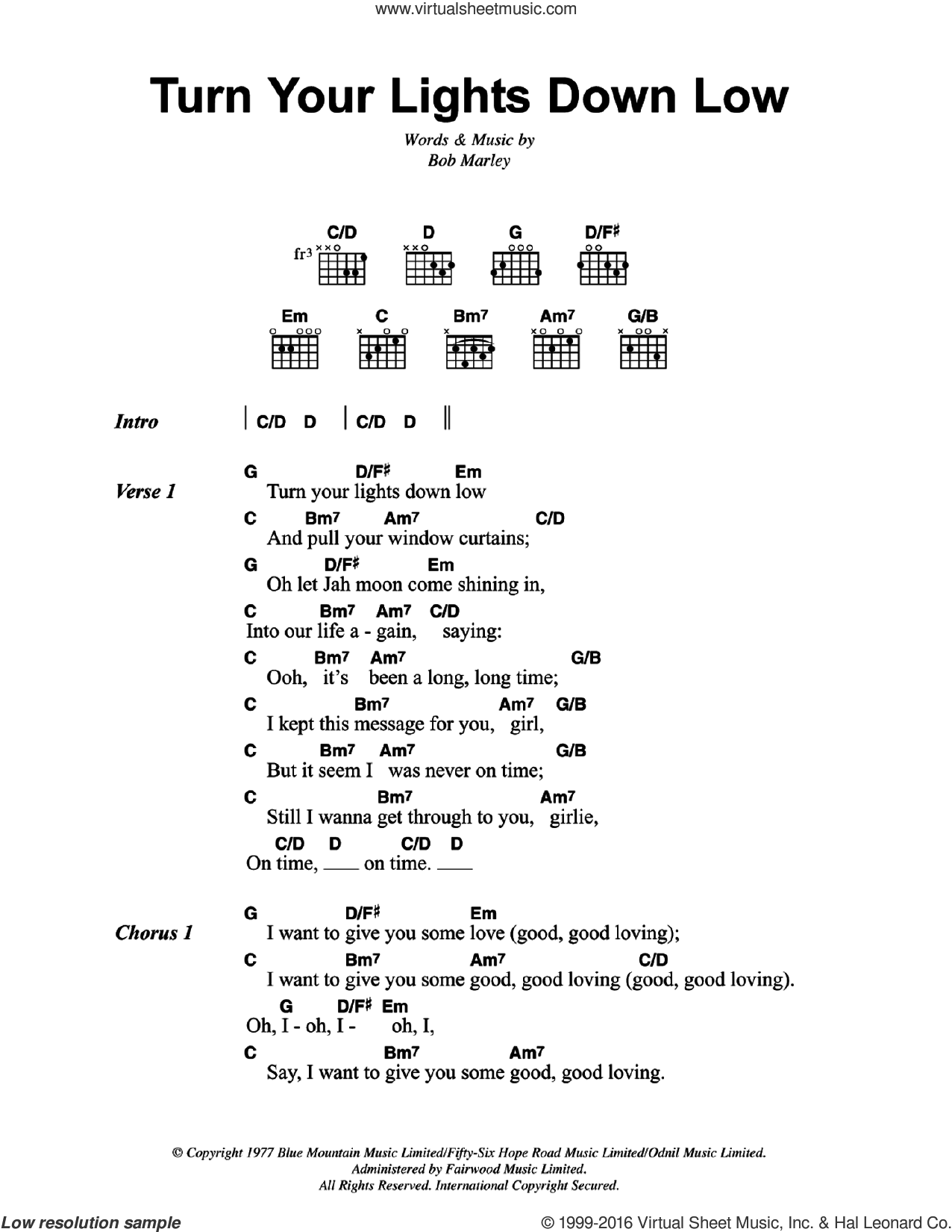 Turn Your Lights Down Low sheet music for guitar (chords) by Bob Marley. Score Image Preview.
