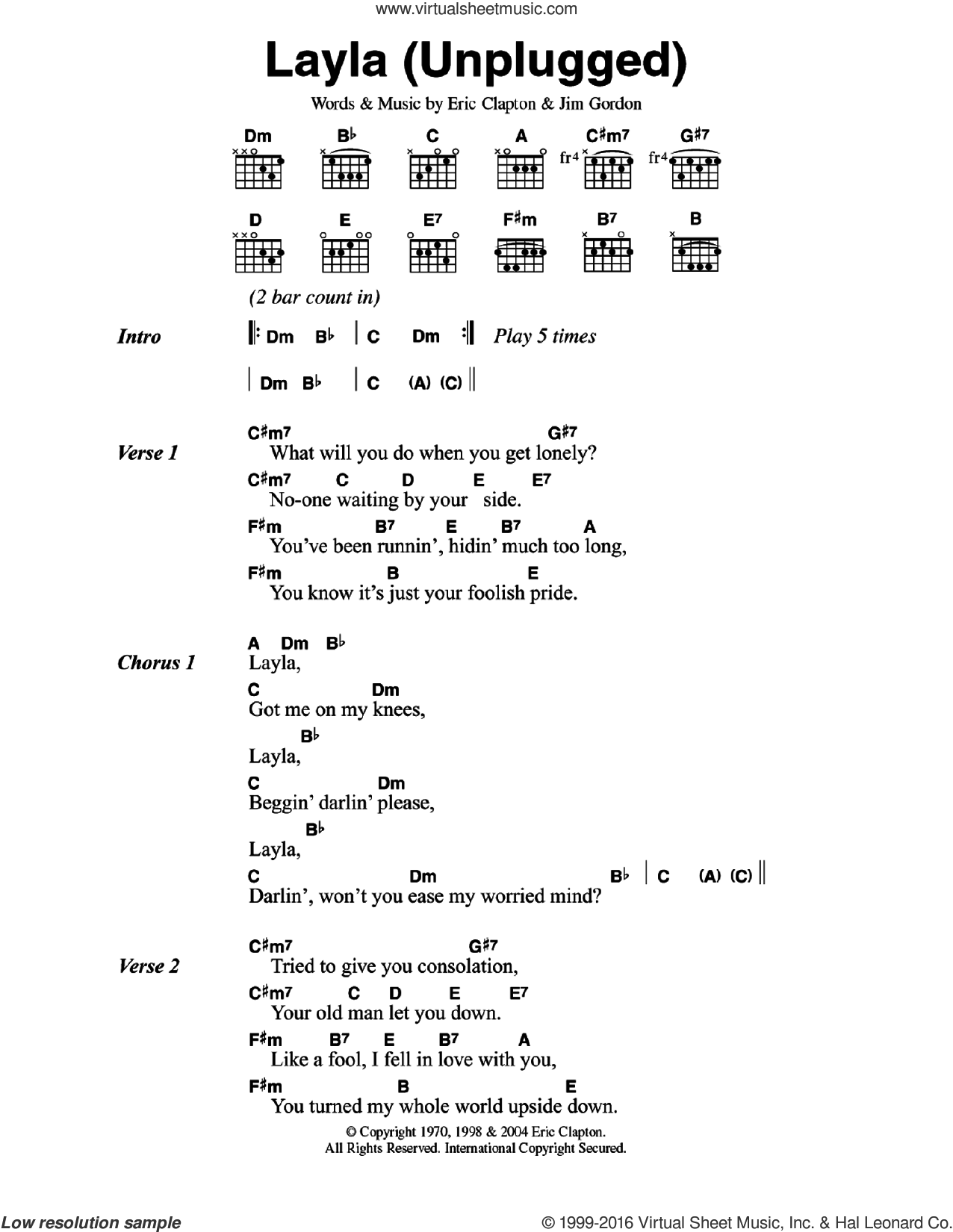 Layla (unplugged) sheet music for guitar (chords) by Eric Clapton, intermediate guitar (chords). Score Image Preview.