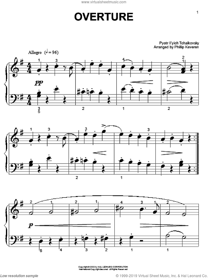 Overture sheet music for piano solo (big note book) by Pyotr Ilyich Tchaikovsky and Phillip Keveren, classical Christmas carol score, easy piano (big note book). Score Image Preview.
