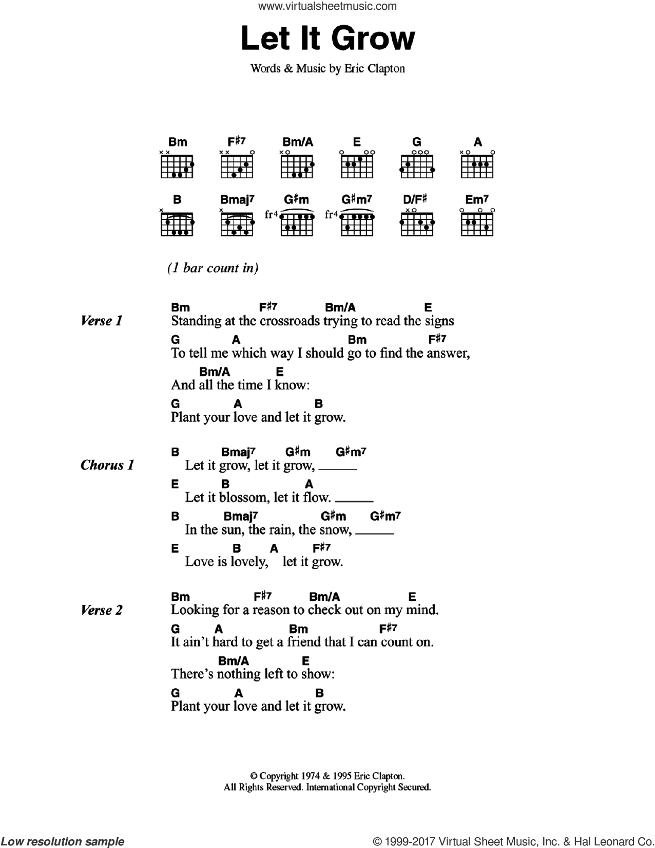 Clapton Let It Grow Sheet Music For Guitar Chords Pdf