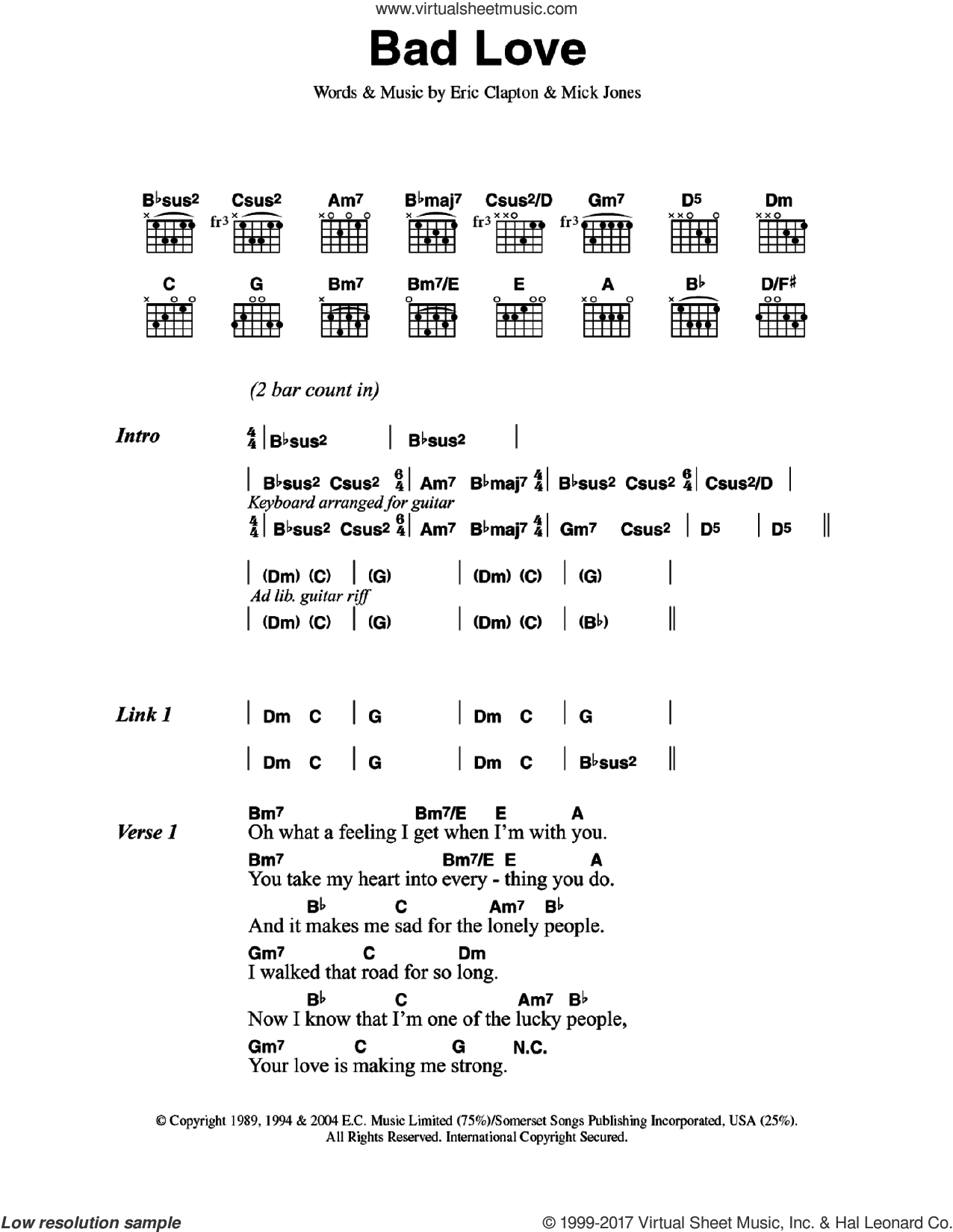 Clapton Bad Love Sheet Music For Guitar Chords Pdf
