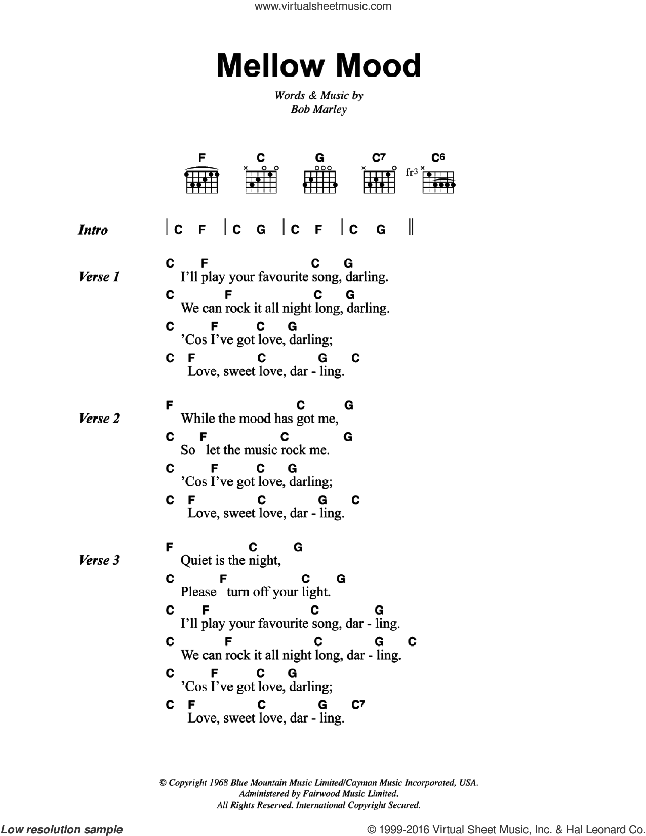 Mellow Mood sheet music for guitar (chords) by Bob Marley. Score Image Preview.